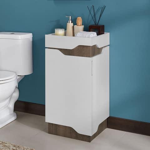 Furniture of America Shar Modern White 2-shelf Bathroom Cabinet