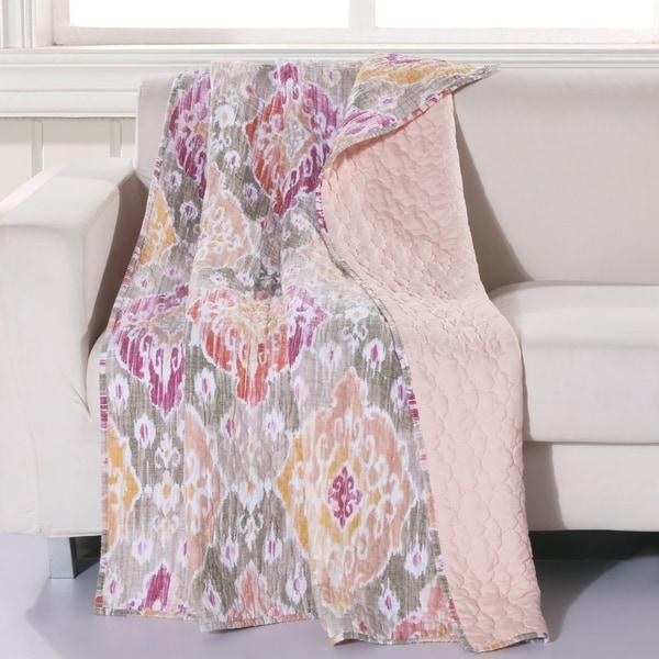 Porch & Den DeeAnn Blush Reversible Throw Blanket. Opens flyout.