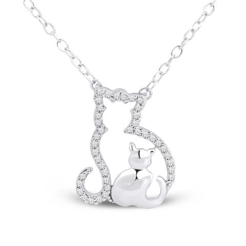 1/10ct TDW Diamond Mom and Child Necklace in Sterling Siver by De Couer
