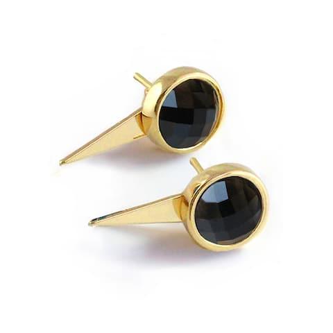 Sonia Hou Fire 3-Way Convertible 24K Gold Black Onyx Gemstone Ear Jacket Earrings