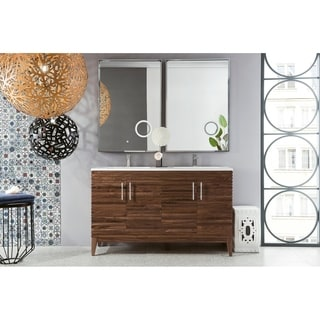 Lineage 59-in. Mid-century Walnut Double Vanity with Solid Surface Top