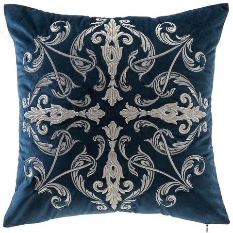 Gracewood Hollow Hadzimusic 18-inch Square Velvet Pillow Cover with Cream Damask Embroidery