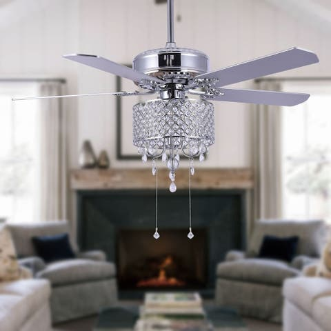 """52"""" Modern Crystal Ceiling Fan with Remote, Reversible - 52 inches"""