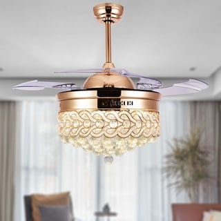 Modern Crystal Retractable Ceiling Fan with LED Light, Remote - 42 (French Gold)