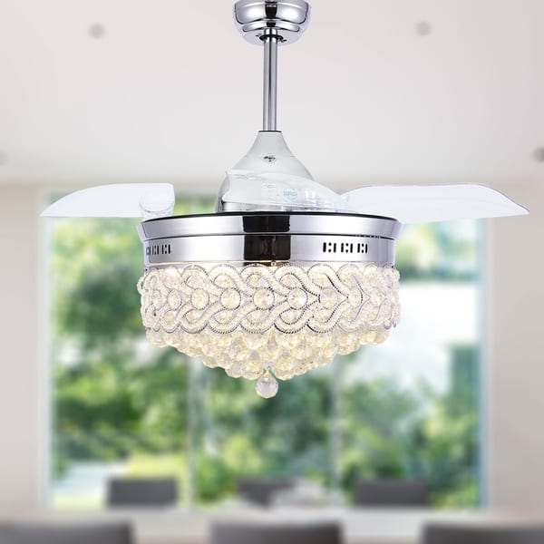 Modern Crystal Retractable Ceiling Fan With Led Light Remote 42 On Sale Overstock 28149299