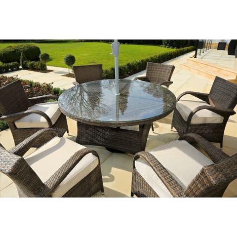Fashion New Style 7-piece Dinner Wicker Table and Chairs Set with Cushions - N/A