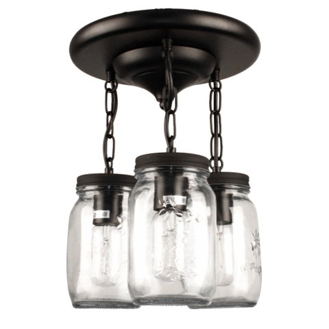 Clear Mason jar Glass Semi Flush Mount