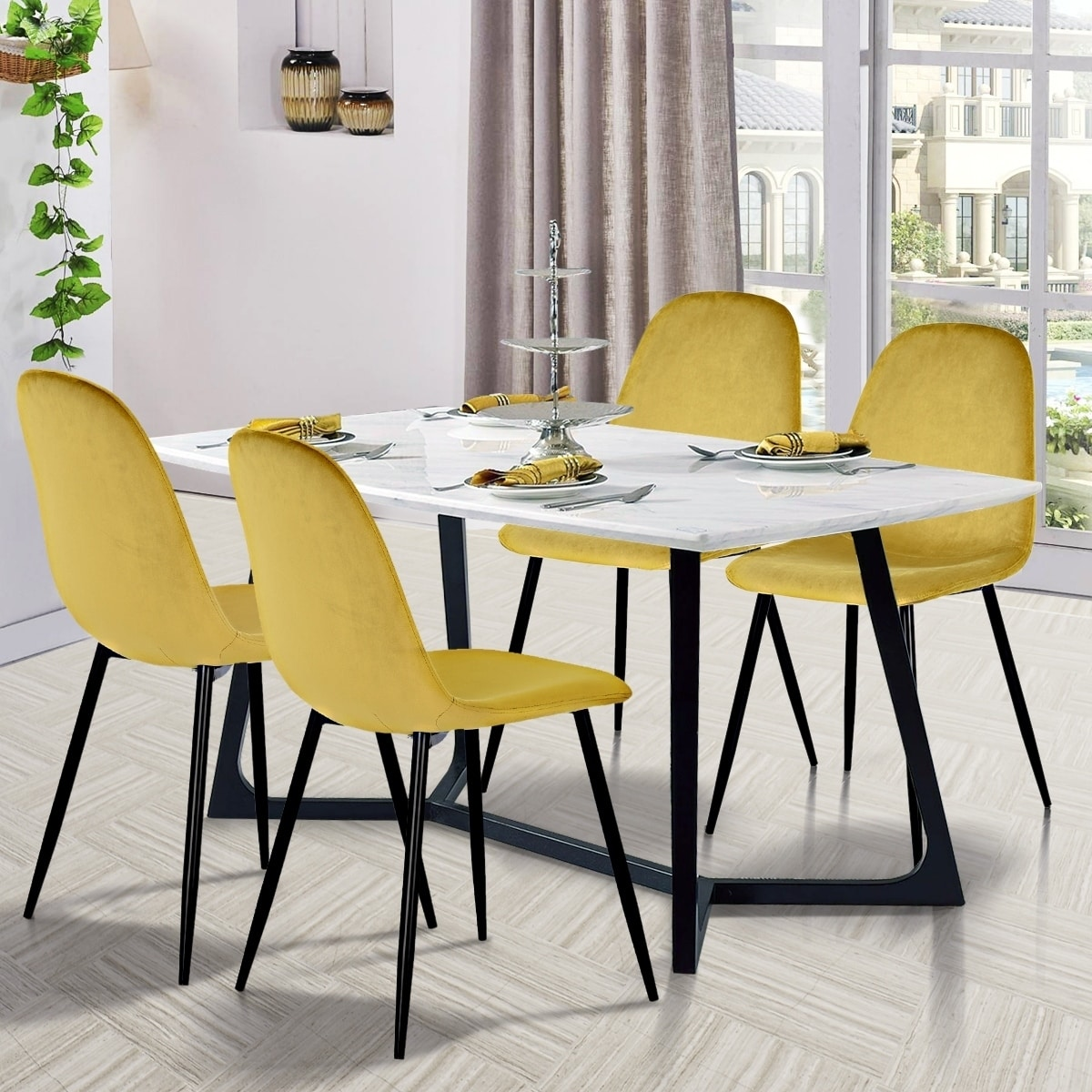 Picture of: Set Of 2 Modern Dining Chairs Yellow Soft Velvet Seat Cushion Covers Metal Legs Isp Paris