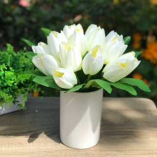 Enova Home 18 Heads Silk Tulips Flower Centerpieces in White Ceramic Vase For Home Decoration Wedding Party