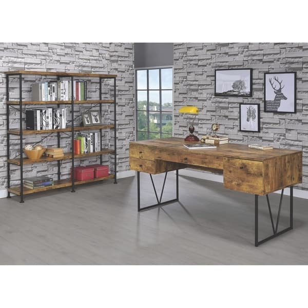 Modern Mid Century Industrial Design Wood And Metal Home Office Collection Overstock 28149475