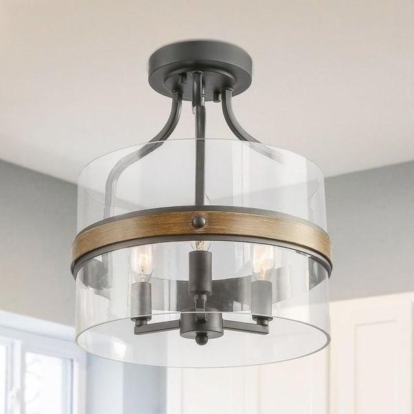 Shop 3-Light Semi-Flush Mount Drum Glass Shade Chandelier ...