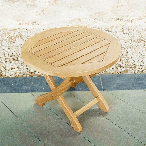 Havenside Home Kivalina White Oak Folding Patio Side Table