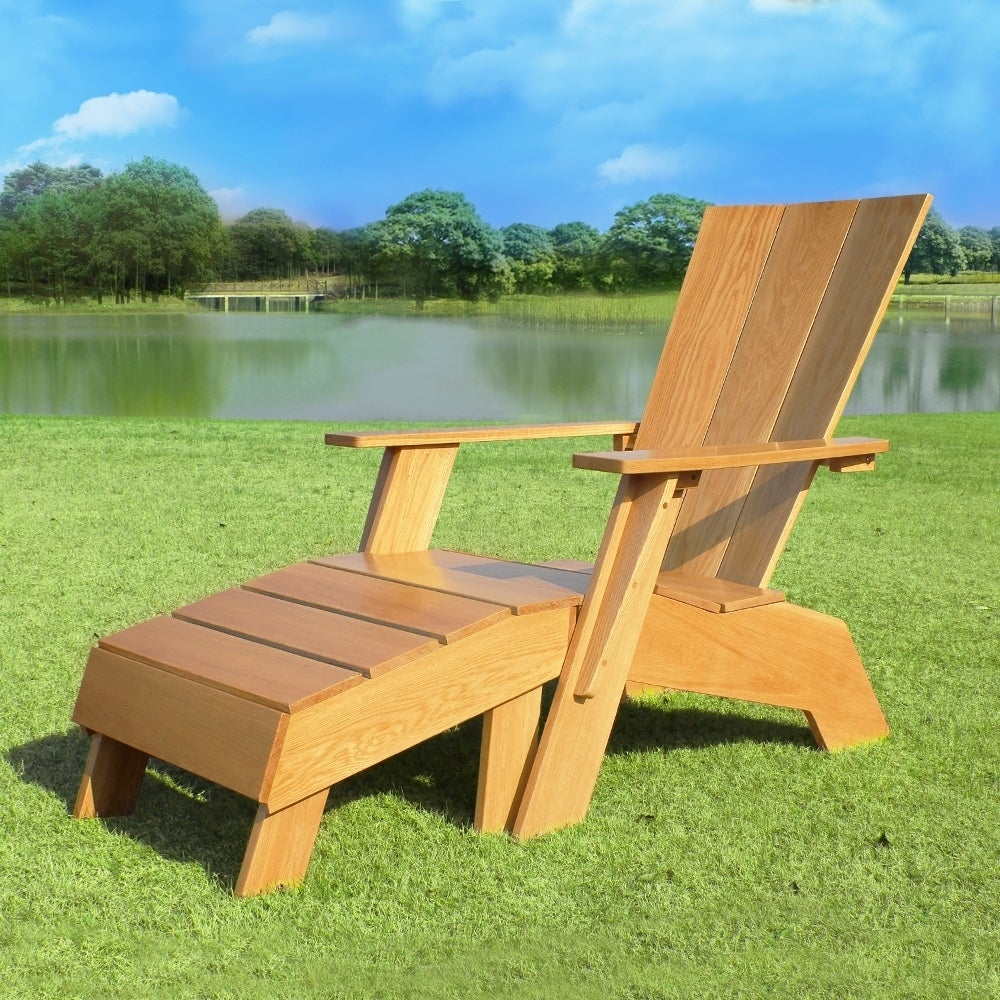 Admirable Cambridge Casual Baytown White Oak Adirondack Chair With Ottoman Uwap Interior Chair Design Uwaporg