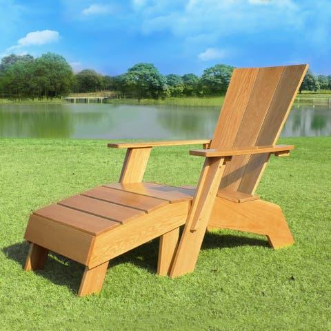Cambridge Casual Baytown White Oak Adirondack Chair with Ottoman
