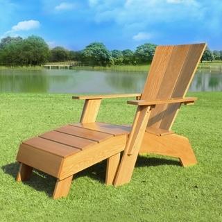 Havenside Home Kivalina White Oak Adirondack Chair with Ottoman