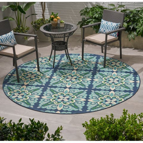 Kaia Outdoor Medallion Fabric Area Rug, Blue and Green by Christopher Knight Home