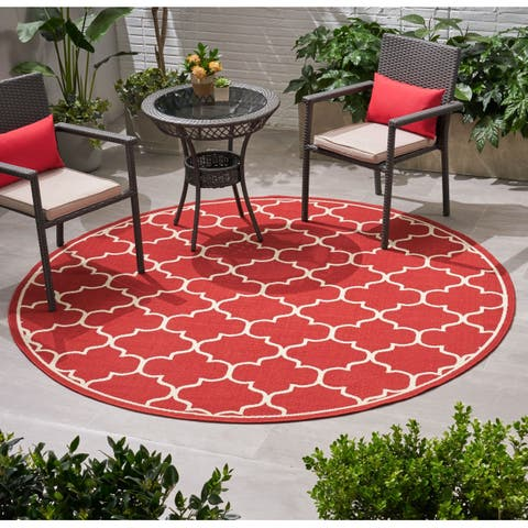 Thornhill Outdoor Trefoil Fabric Area Rug, Red and Ivory by Christopher Knight Home