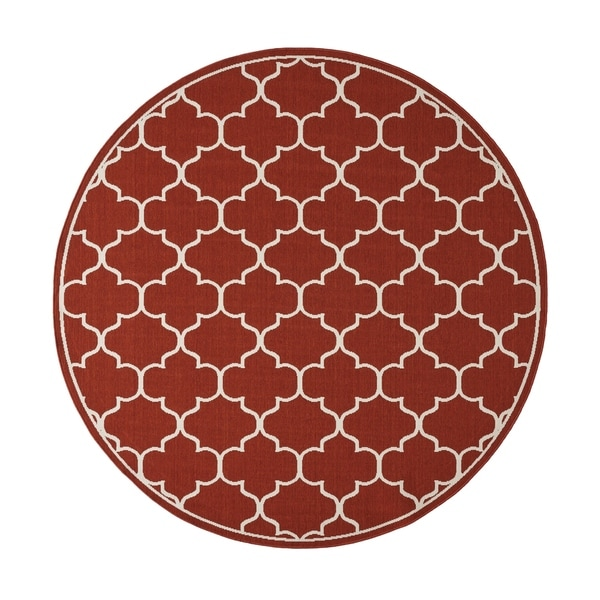 Christopher Wynter Art Rug Ivory: Shop Thornhill Outdoor Trefoil Fabric Area Rug, Red And