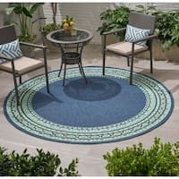 Remington Outdoor Border Fabric Area Rug, Navy and Green by Christopher Knight Home