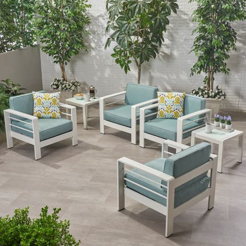 Cape Coral Outdoor 4 Seater Club Chair and Table Set by Christopher Knight Home