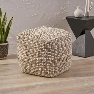Candice Boho Wool and Cotton Ottoman Pouf by Christopher Knight Home