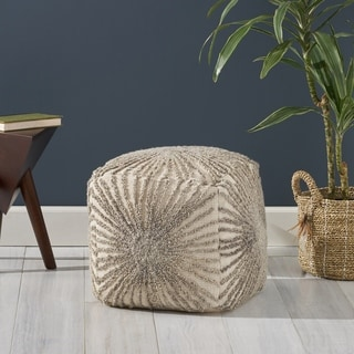 Nolene Boho Wool and Cotton Ottoman Pouf by Christopher Knight Home