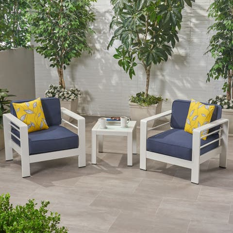 Cape Coral Outdoor 2 Seater Club Chair and Table Set by Christopher Knight Home