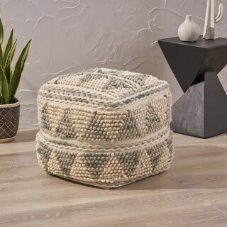 Camphor Boho Wool and Cotton Ottoman Pouf by Christopher Knight Home