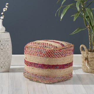 Carlotta Boho Hemp Silk and Cotton Ottoman Pouf by Christopher Knight Home