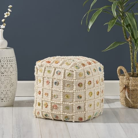 Cloverleaf Boho Cube Wool and Cotton Pouf by Christopher Knight Home