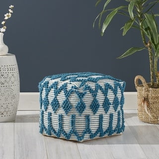Birchglen Boho Cube Wool and Cotton Pouf by Christopher Knight Home
