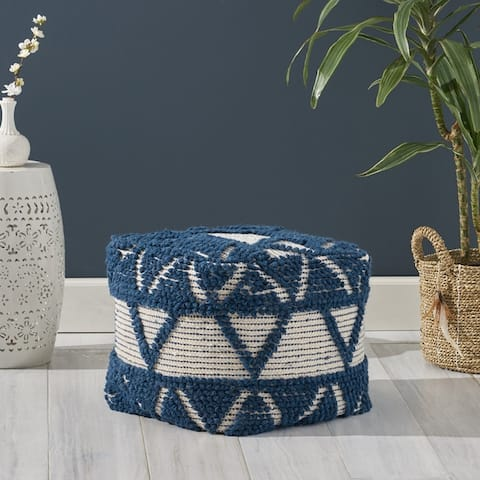 Azelea Boho Cube Wool and Cotton Pouf by Christopher Knight Home