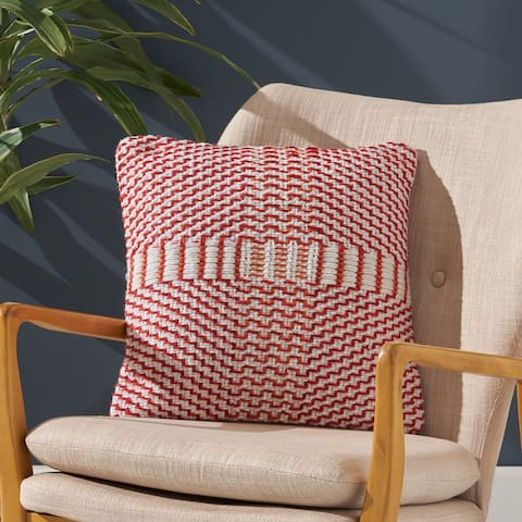 Rolodex Indoor Boho Yarn Throw Pillow by Christopher Knight Home