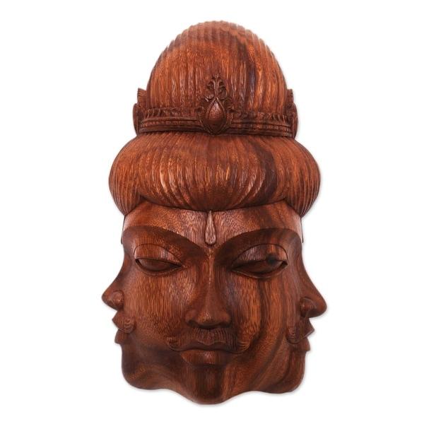 Handmade Radiant Trinity Wood mask (Indonesia). Opens flyout.