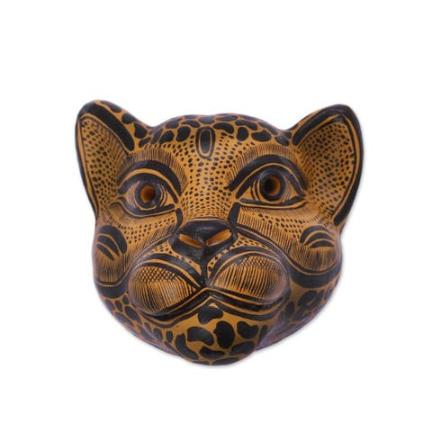 Handmade Spying Jaguar Ceramic Mask (Mexico)