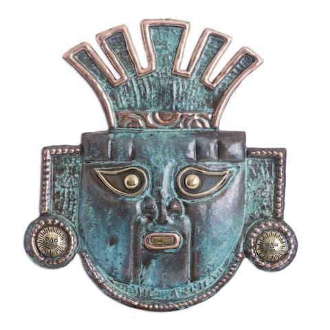 Handmade Sun Ritual Copper Mask (Peru)