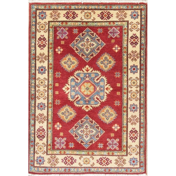 """Traditional Pakistan Hand Knotted Red Kazak-Chechen Oriental Area Rug - 3'11"""" x 2'8"""""""