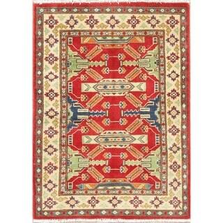 "Southwestern Hand Knotted Kazak Pakistan Oriental Wool Area Rug - 3'7"" x 2'7"""