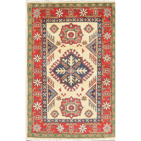 """Traditional Hand Knotted Kazak-Chechen Pakistan Oriental Area Rug - 4'1"""" x 2'9"""""""