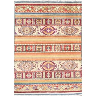 """Oriental Kazak Hand Knotted Pakistan Wool Hand Knotted Area Rug - 3'9"""" x 2'9"""""""