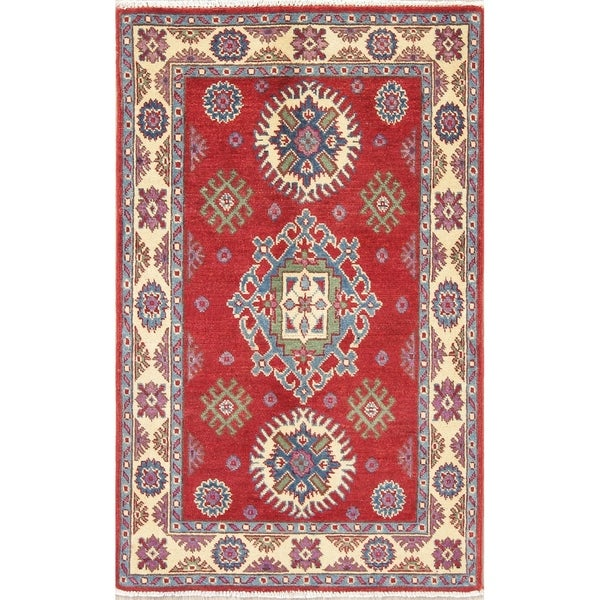 "Hand Knotted Kazak Pakistan Traditional Wool Area Rug - 4'2"" x 2'9"""
