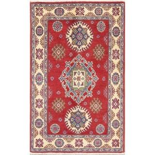 "Hand Knotted Kazak Pakistan Traditional Wool Area Rug - 4'2"" x 2'9"""