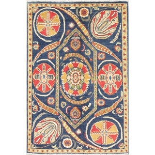 "Oriental Kazak-Chechen Hand Knotted Pakistan Wool Area Rug - 3'11"" x 2'8"""