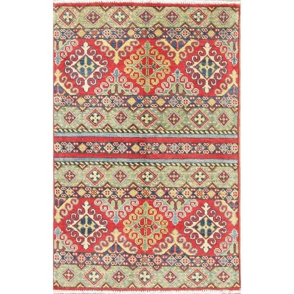 "Oriental Hand Knotted Kazak Southwestern Pakistan Wool Area Rug - 4'0"" x 2'7"""