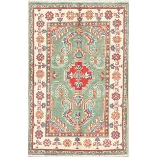 "Oriental Traditional Kazak Pakistan Hand Knotted Wool Area Rug - 4'1"" x 2'9"""