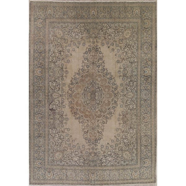 """Vintage Tabriz Faded Distressed Hand Knotted Oriental Persian Area Rug - 15'11"""" x 11'1"""""""