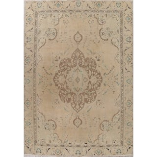 """Vintage Oriental Tabriz Muted Distressed Hand Knotted Persian Area Rug - 12'4"""" x 8'8"""""""