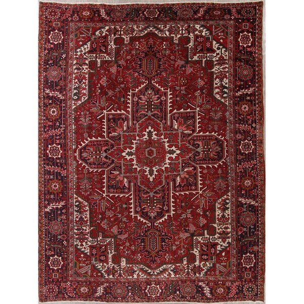 """Oriental Heriz Vintage Traditional Persian Hand Knotted Wool Area Rug - 12'10"""" x 9'8"""""""