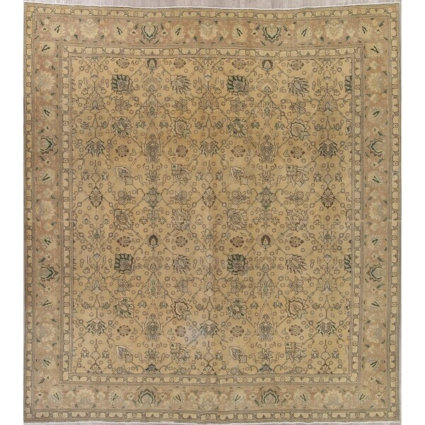 "Tabriz Faded Vintage Distressed Oriental Persian Area Rug Square - 12'4"" x 11'3"" Square"