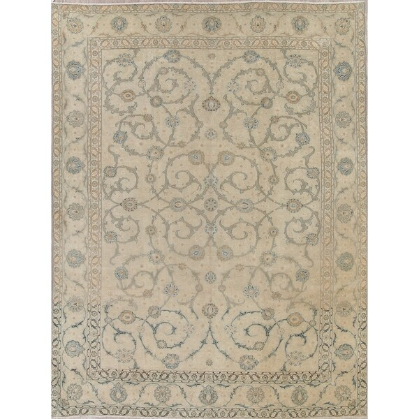 """Antique Najafabad Faded Distressed Hand Knotted Wool Persian Rug - 13'5"""" x 10'1"""""""